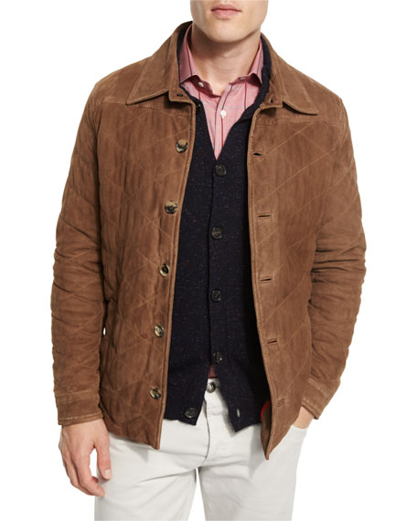 Isaia Quilted Suede Shirt Jacket, Tan