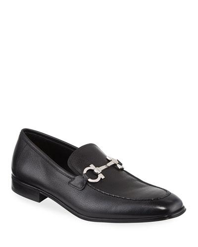 Men's Textured Calfskin Gancini Loafer  Black