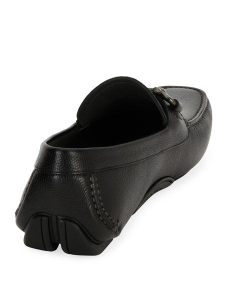 Salvatore Ferragamo Men's Pebbled Leather Gancini Driver, Black