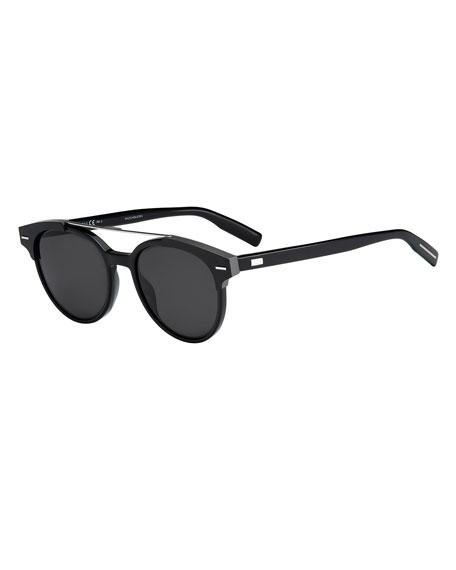 Black Tie Round Metal-Bar Sunglasses