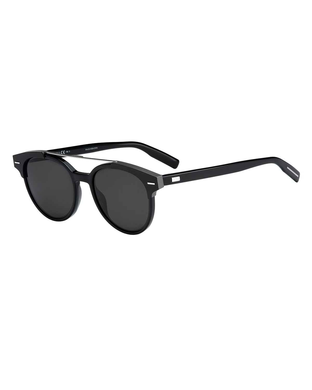 654973a9cd5c4 Dior Black Tie Round Metal-Bar Sunglasses   Neiman Marcus