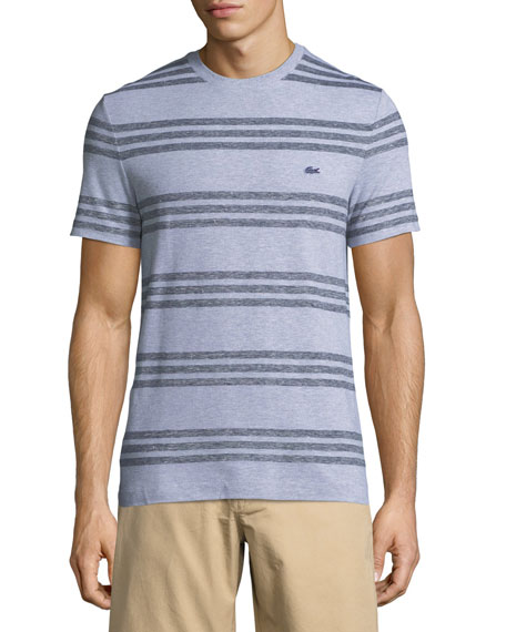 Lacoste striped pique crewneck t shirt neiman marcus for Lacoste stripe pique polo shirt