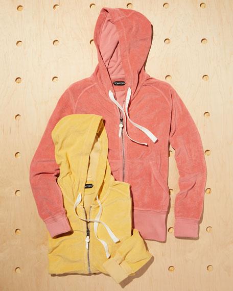 Terry Cloth Zip-Front Hoodie