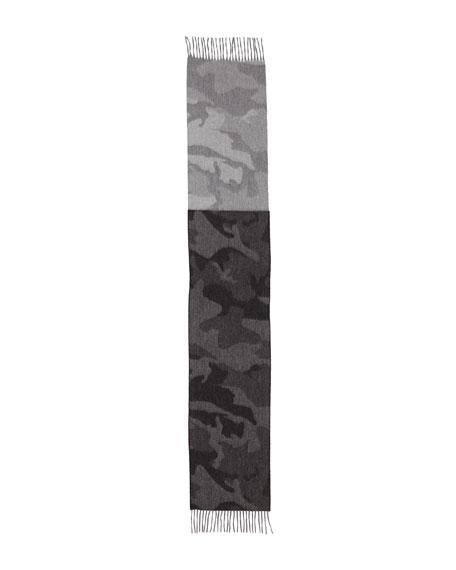 Colorblock Camouflage Cashmere Scarf w/Fringe