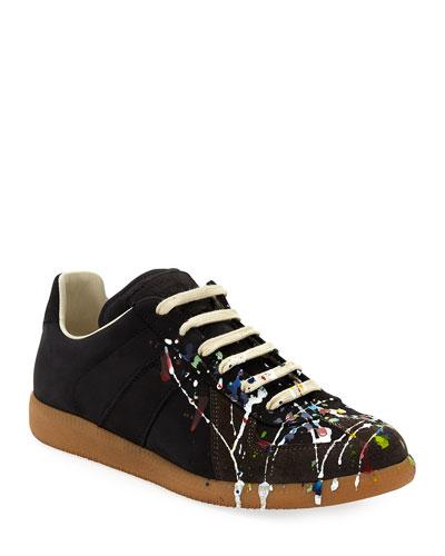 Men's Splatter-Print Painter Low-Top Sneakers  Black Pattern