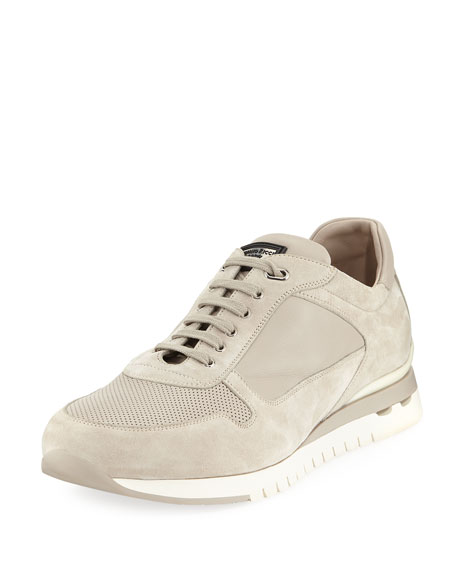 Image 1 of 5: Men's Suede and Leather Trainer Sneakers