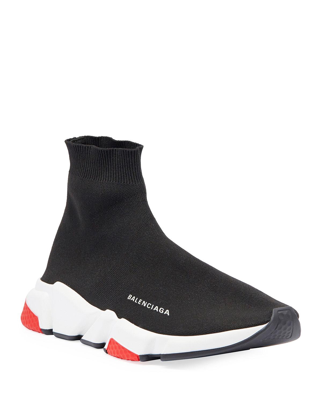d98b8e5629f0 Balenciaga Men's Speed Mid-Top Trainer Sock Sneakers | Neiman Marcus
