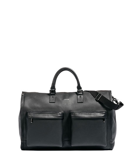 Image 1 of 5: Leather Garment Weekender Bag