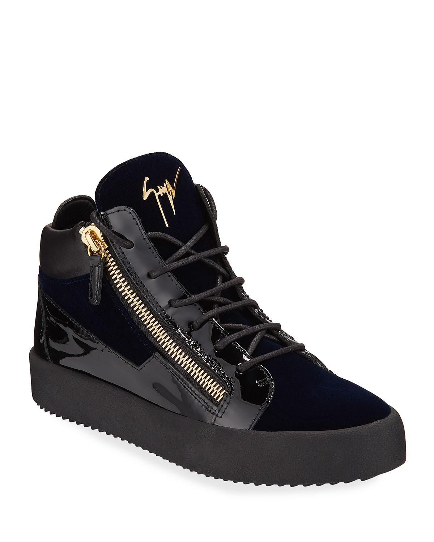 many styles best sale order online Giuseppe Zanotti Men's Velvet & Patent Leather Mid-Top Sneakers ...