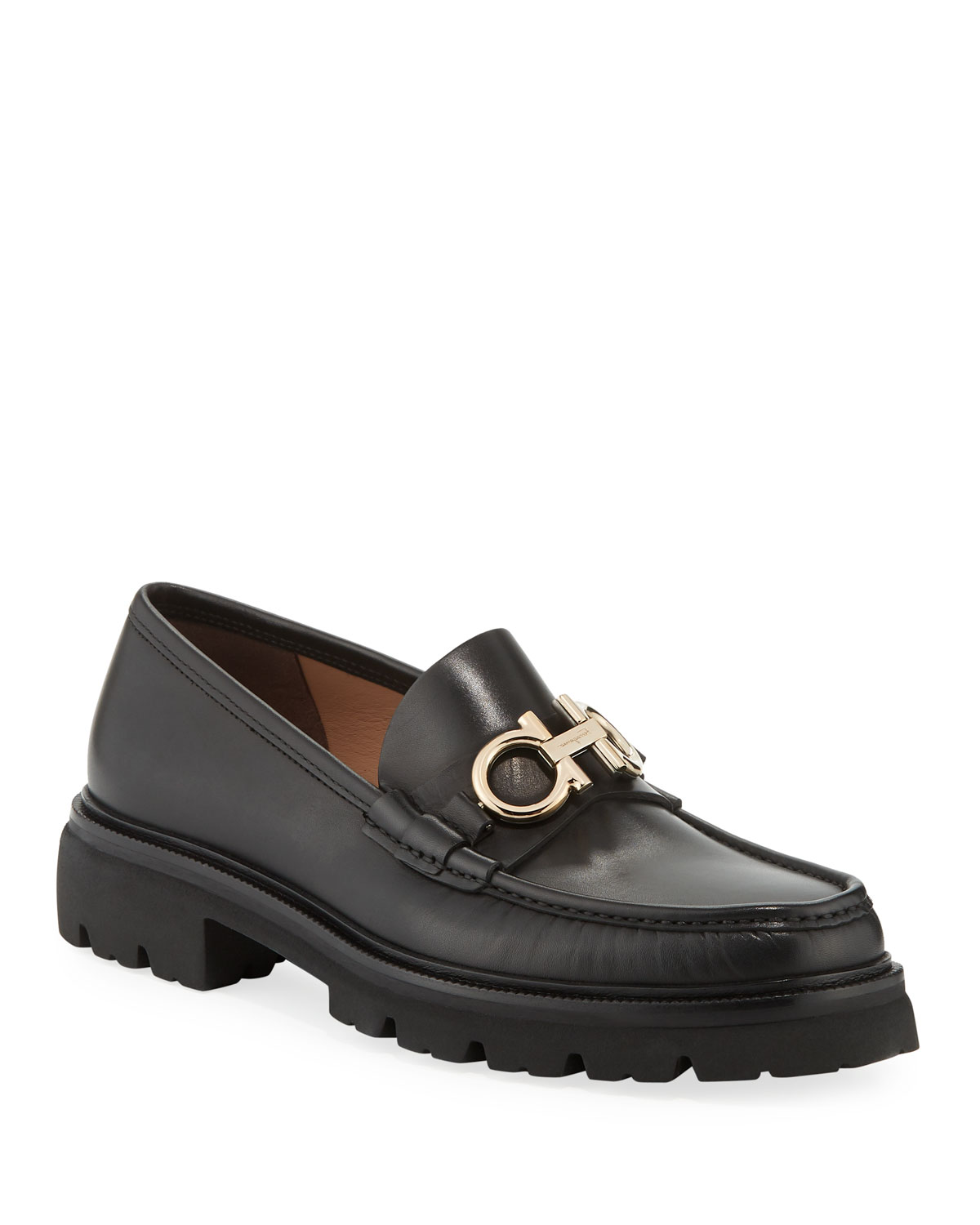 698a1292e8f Salvatore FerragamoMen s Bleecker Leather Lug-Sole Loafers with Reversible  Bit