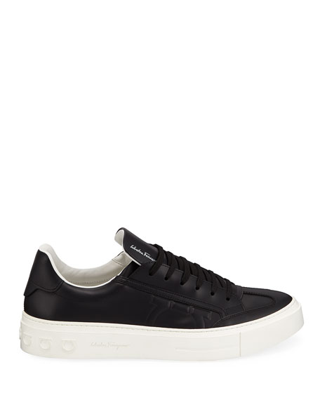 Salvatore Ferragamo Men's Borg Leather Low-Top Sneakers, Black