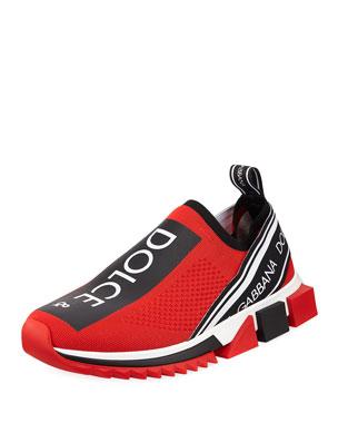 553b40ef8686e Dolce & Gabbana Men's Sorrento Logo-Stripe Sock Sneakers