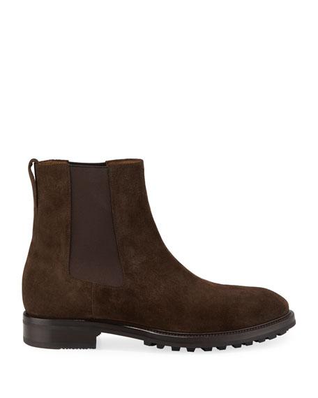 TOM FORD Men's Stuart Lug-Sole Suede Ankle Boots