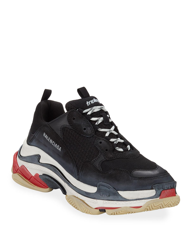 677849348b021 Balenciaga Men's Triple S Mesh & Leather Sneakers, Black | Neiman Marcus