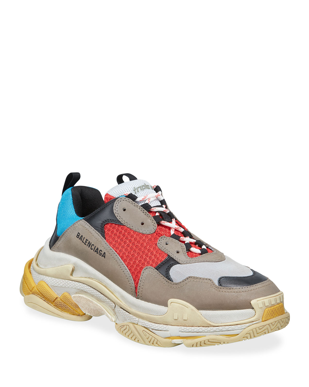 Triple S Mesh \u0026 Leather Sneakers, Blue