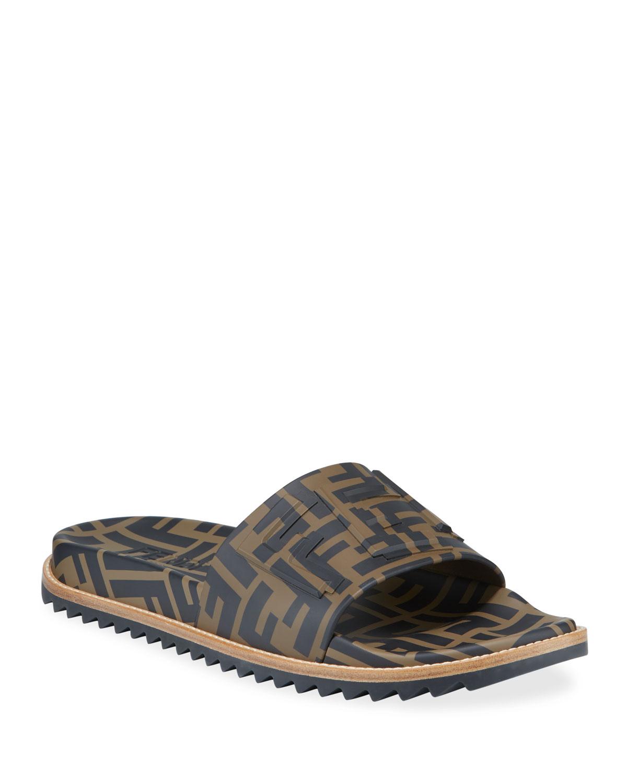 Fendi Men S Rubber Pool Slide Sandals W Raised Logo