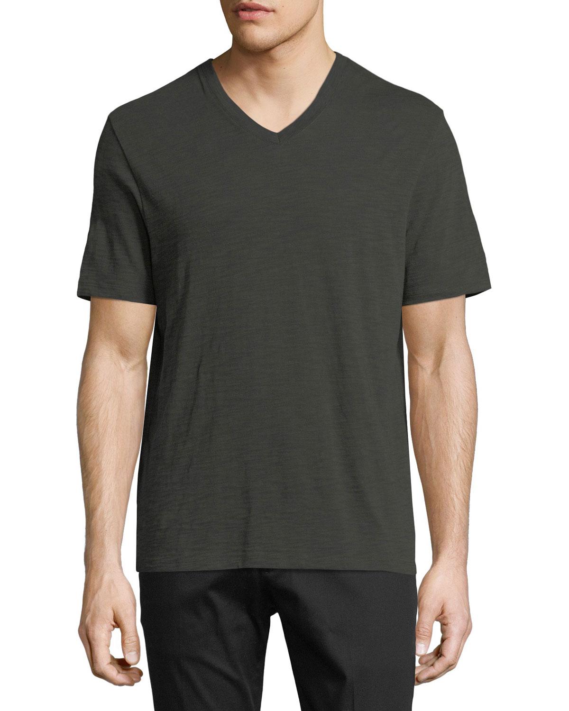 Vince Slub Pima Cotton V Neck T Shirt Neiman Marcus