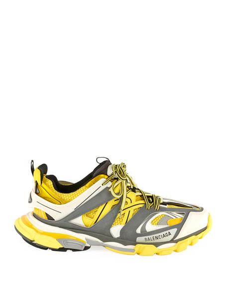 Balenciaga Men's Runway Track Sneakers, Yellow