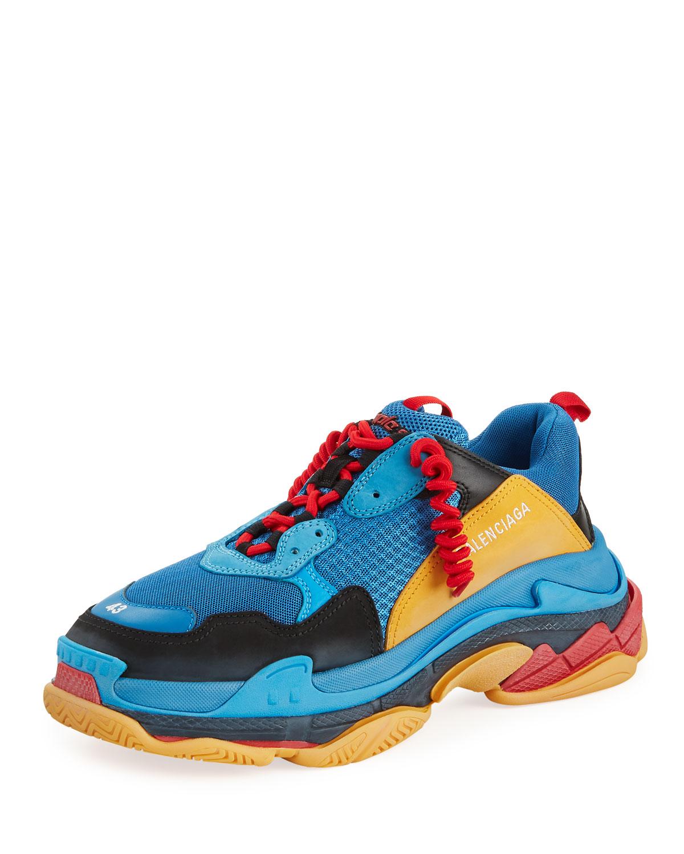 e99a3209fc435 Balenciaga Men's Triple S Mesh & Leather Sneakers, Blue/Orange ...
