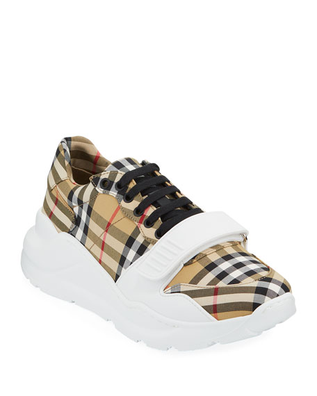 Burberry Men's Chunky Signature Check Trainer Sneakers with Grip Strap