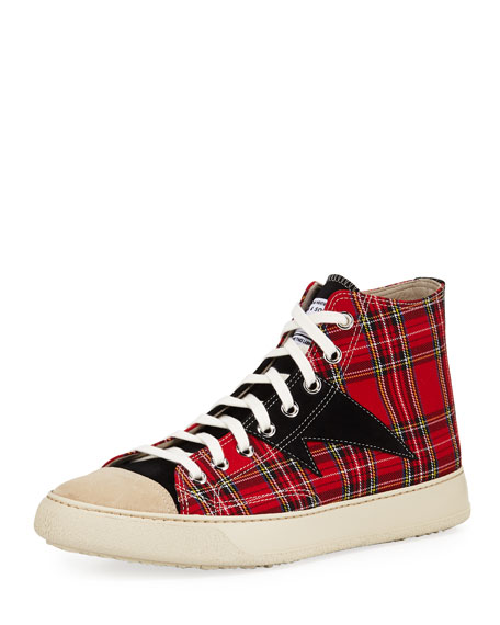 Ovadia & Sons Men's Plaid Strummer High-Top Sneakers