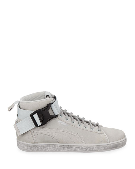 Puma Men's Suede Mid-Top Sneakers w/ Ankle Strap