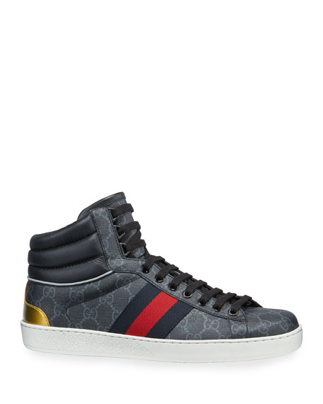 Gucci Men's Ace GG Canvas High-Top Sneakers