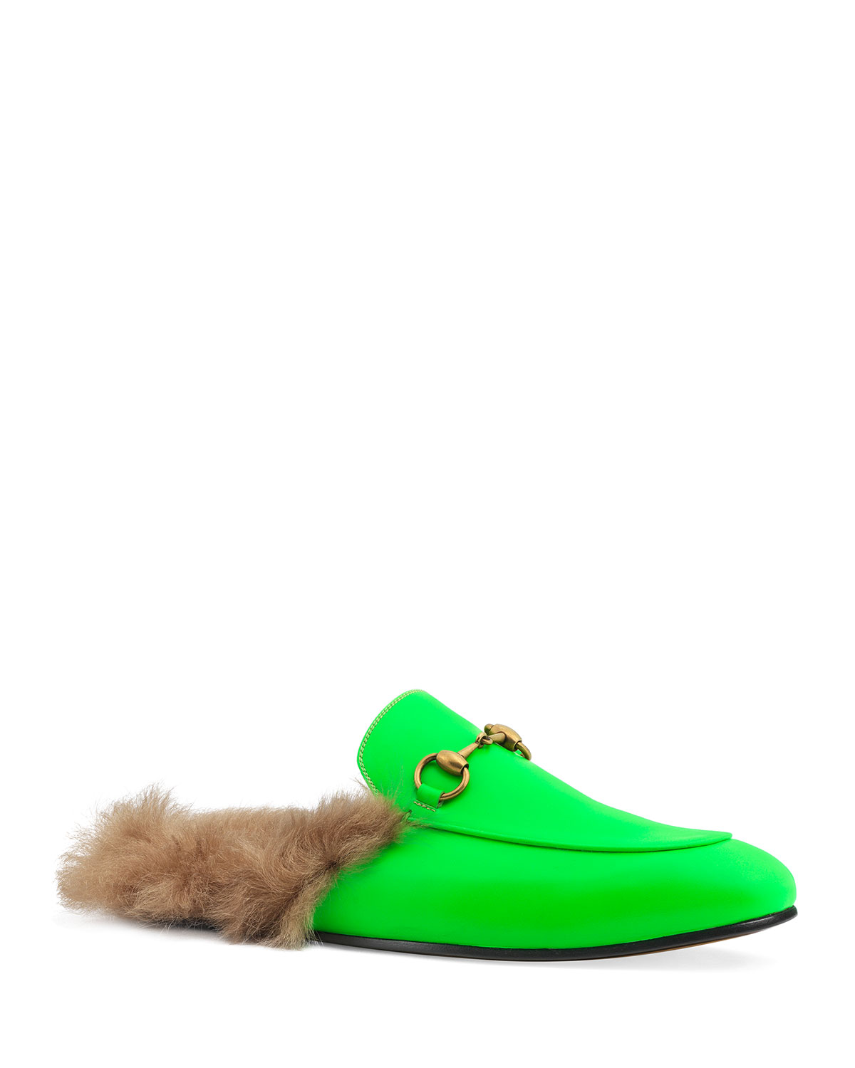 Lined Slippers Fur Leather Fluorescent Men's Princetown vwm0N8n