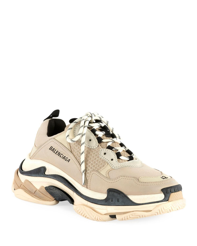 Triple S Mesh \u0026 Leather Sneakers