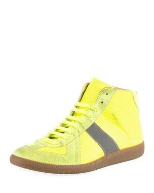 76fe3c922d056 Maison Margiela Men's Replica High-Top Sneakers w/ Dirty Treatment