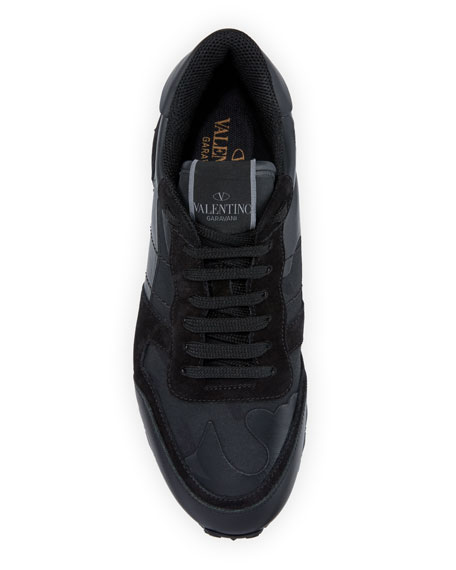 Valentino Garavani Men's Rockrunner Camo Leather Sneakers, Black