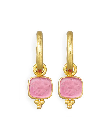 Pink Pegasus, Goddess & Moon Intaglio Earring Pendants