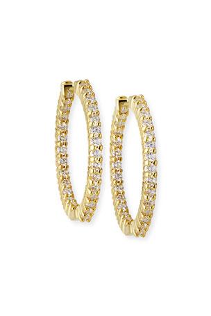 Roberto Coin 25mm Yellow Gold Diamond Hoop Earrings, 1.53ct