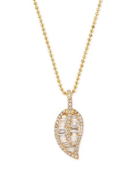 ko 18k gold leaf pendant necklace