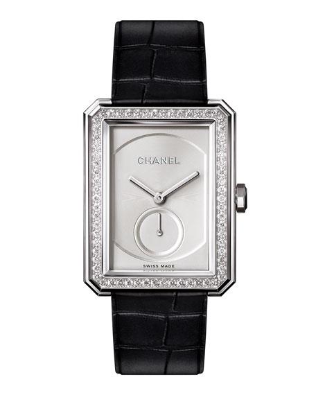 CHANEL BOY·FRIEND 18K White Gold Watch with Diamonds, Large Size