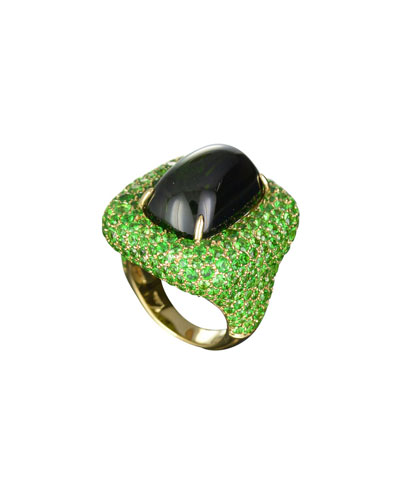 Marbella Green Tourmaline Cabochon Ring in 18K Gold  Size 6.5