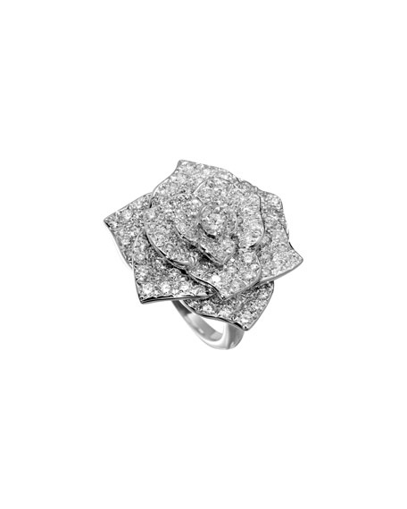 Pavé Diamond Rose Ring in 18K White Gold, Size 52