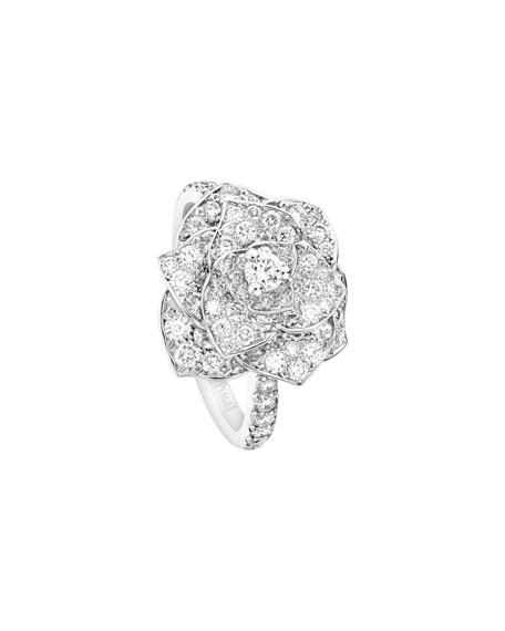 PIAGET Rose Ring with Pave Diamonds in 18K White Gold, Size 7