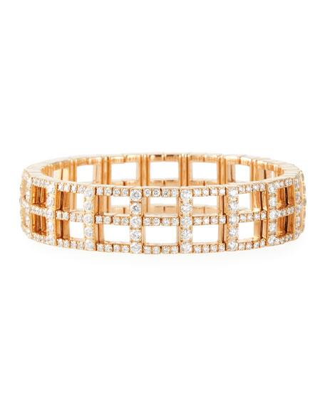 18k Rose Gold Stacked Stretch Link Bracelet w/ Diamonds