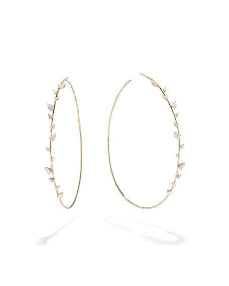 LANA 14k Gold Diamond Pear Solo Hoop Earrings