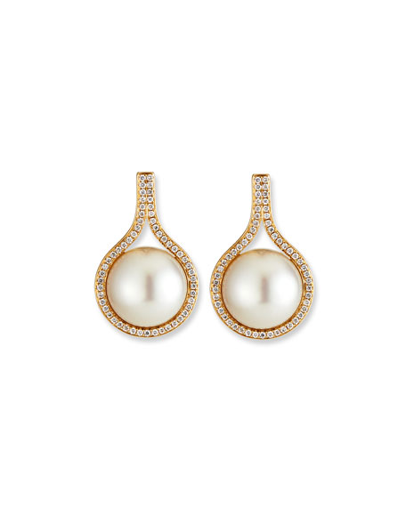 Image 3 of 3: Belpearl 18k Diamond-Daisy Pearl-Drop Earrings