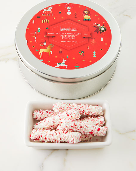 Neiman Marcus White-Chocolate Peppermint Pretzels
