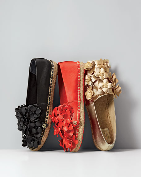 Tory Burch Blossom Leather Espadrille Flat