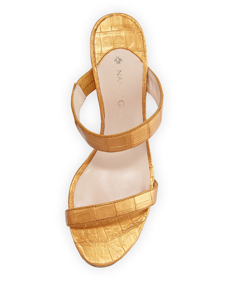Maria Crocodile 70mm Slide Sandal