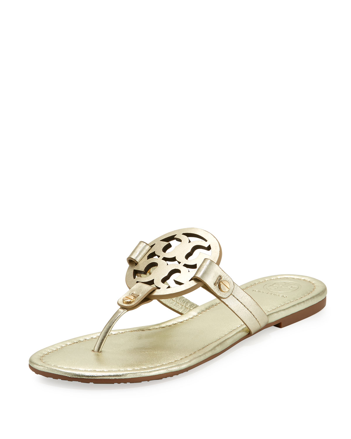 49233a715 Tory Burch Miller Leather Logo Sandal | Neiman Marcus