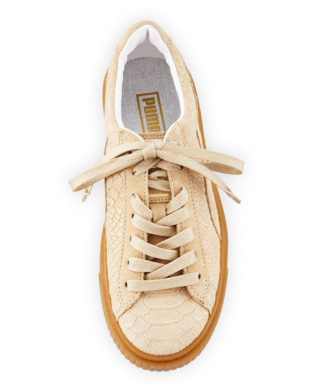 Snake-Embossed Suede Sneakers