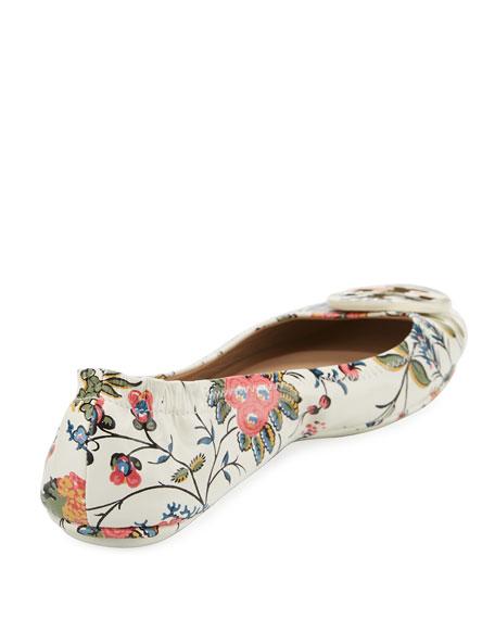 Tory Burch Minnie Floral Travel Logo Ballet Flats