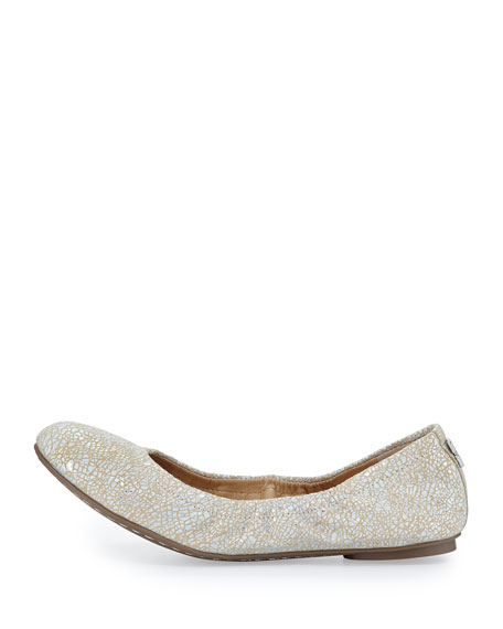 Molly Metallic Cracked Suede Ballet Flat