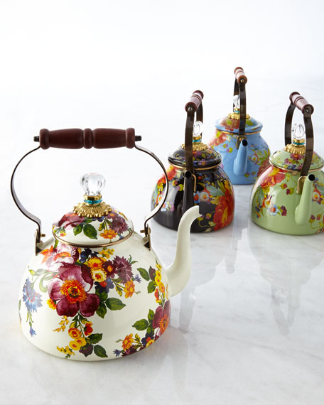 Flower Market Green Two-Quart Tea Kettle