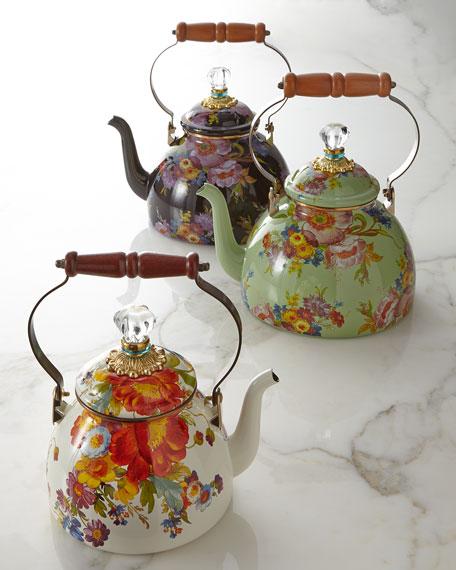Flower Market Green Two-Quart Tea Kettle